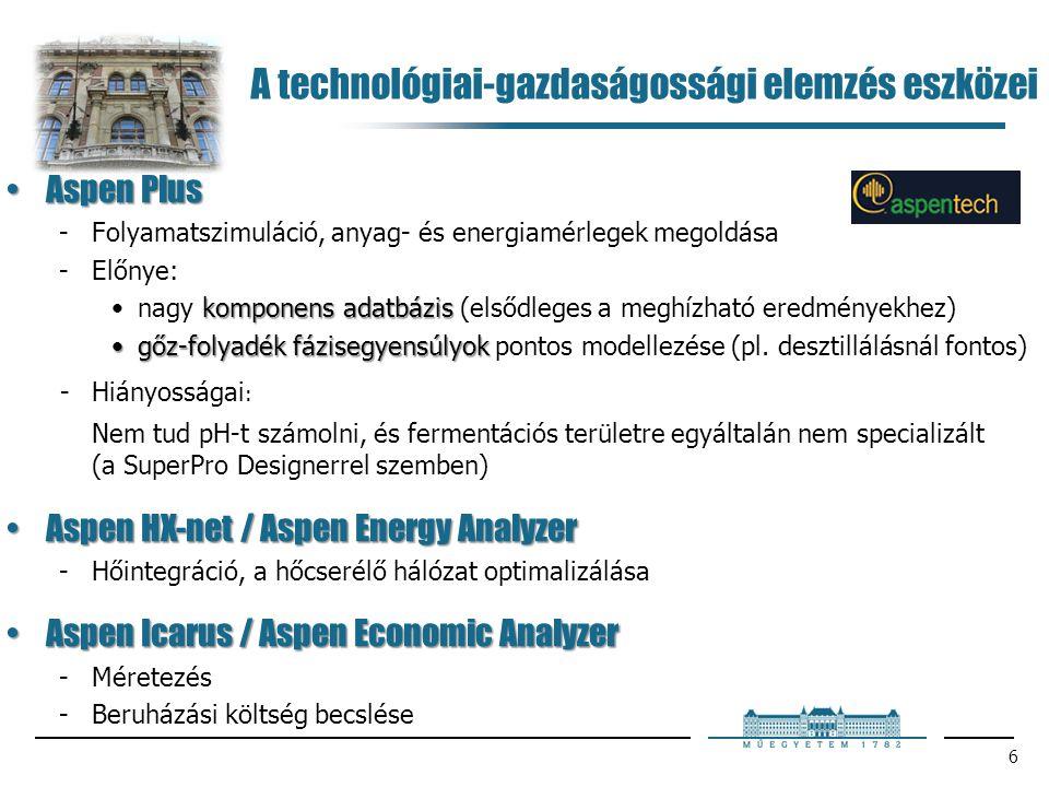 6 Aspen PlusAspen Plus Folyamatszimuláció, anyag- és energiamérlegek megoldása Előnye: komponens adatbázisnagy komponens adatbázis (elsődleges a meg