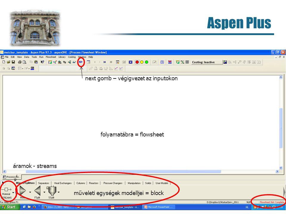 Aspen Plus 9 műveleti egységek modelljei = block folyamatábra = flowsheet next gomb – végigvezet az inputokon áramok - streams