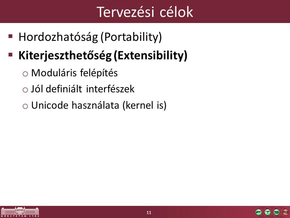 Tervezési célok  Hordozhatóság (Portability)  Kiterjeszthetőség (Extensibility) o Moduláris felépítés o Jól definiált interfészek o Unicode használata (kernel is) 11