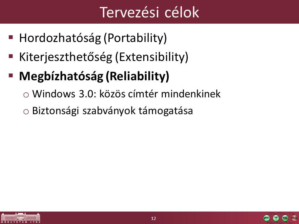 Tervezési célok  Hordozhatóság (Portability)  Kiterjeszthetőség (Extensibility)  Megbízhatóság (Reliability) o Windows 3.0: közös címtér mindenkinek o Biztonsági szabványok támogatása 12