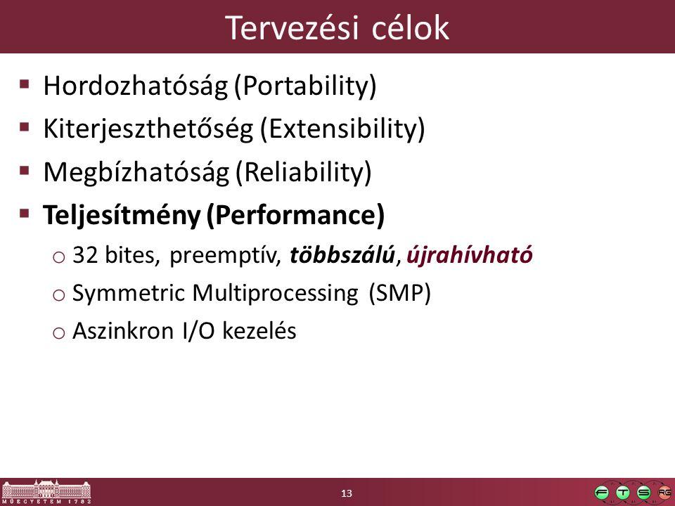 Tervezési célok  Hordozhatóság (Portability)  Kiterjeszthetőség (Extensibility)  Megbízhatóság (Reliability)  Teljesítmény (Performance) o 32 bites, preemptív, többszálú, újrahívható o Symmetric Multiprocessing (SMP) o Aszinkron I/O kezelés 13