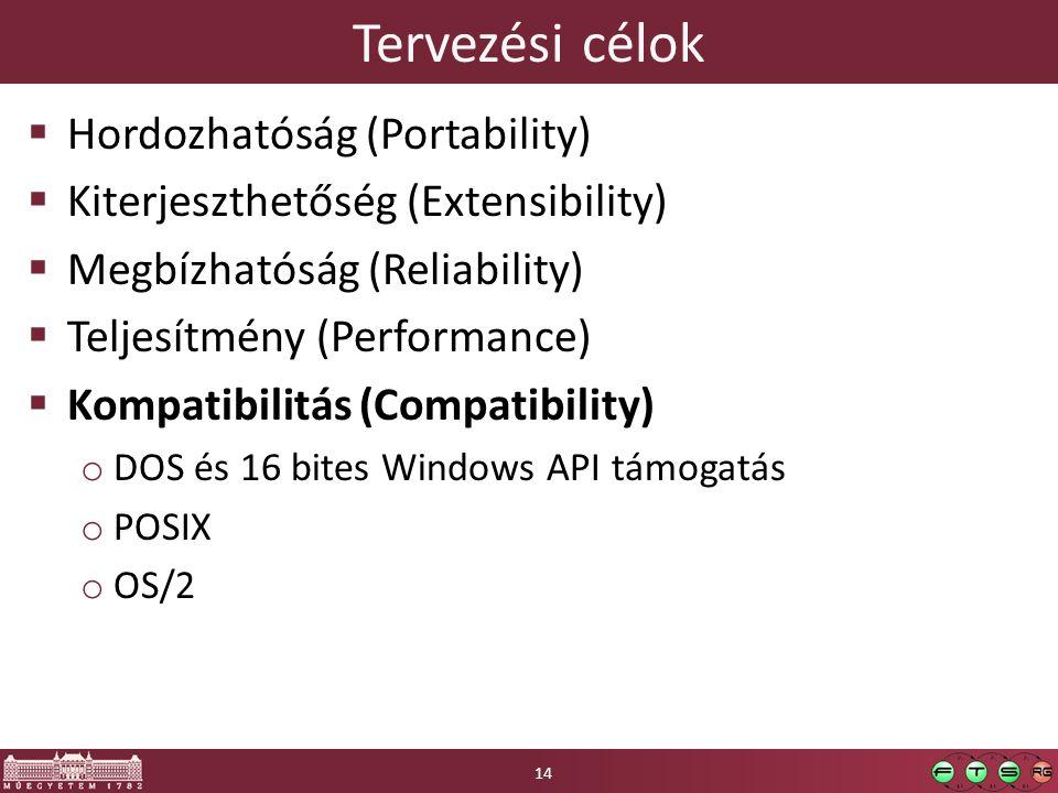Tervezési célok  Hordozhatóság (Portability)  Kiterjeszthetőség (Extensibility)  Megbízhatóság (Reliability)  Teljesítmény (Performance)  Kompatibilitás (Compatibility) o DOS és 16 bites Windows API támogatás o POSIX o OS/2 14