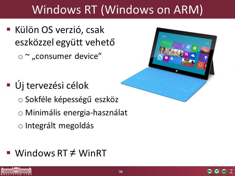 """Windows RT (Windows on ARM)  Külön OS verzió, csak eszközzel együtt vehető o ~ """"consumer device  Új tervezési célok o Sokféle képességű eszköz o Minimális energia-használat o Integrált megoldás  Windows RT ≠ WinRT 36"""