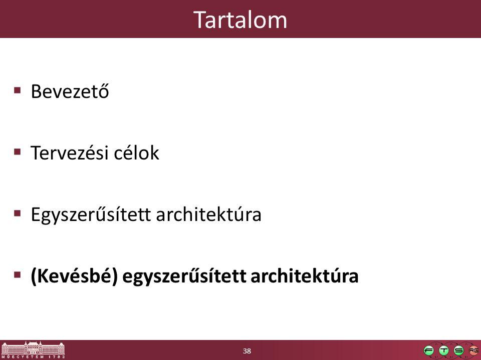 Tartalom  Bevezető  Tervezési célok  Egyszerűsített architektúra  (Kevésbé) egyszerűsített architektúra 38