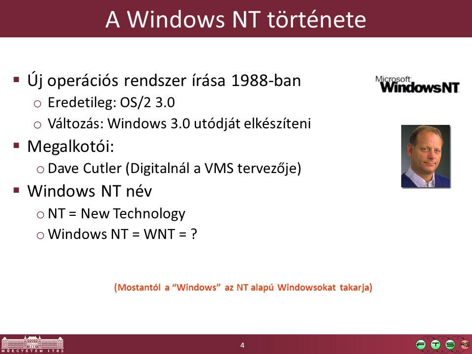 A Windows NT története  Új operációs rendszer írása 1988-ban o Eredetileg: OS/2 3.0 o Változás: Windows 3.0 utódját elkészíteni  Megalkotói: o Dave Cutler (Digitalnál a VMS tervezője)  Windows NT név o NT = New Technology o Windows NT = WNT = .