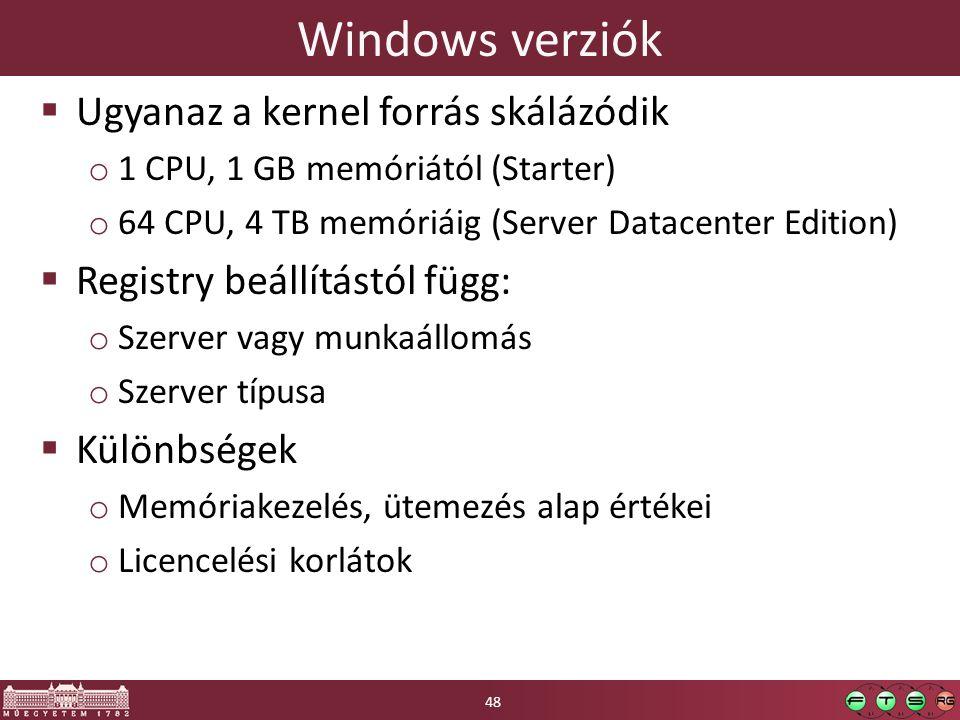 Windows verziók  Ugyanaz a kernel forrás skálázódik o 1 CPU, 1 GB memóriától (Starter) o 64 CPU, 4 TB memóriáig (Server Datacenter Edition)  Registry beállítástól függ: o Szerver vagy munkaállomás o Szerver típusa  Különbségek o Memóriakezelés, ütemezés alap értékei o Licencelési korlátok 48