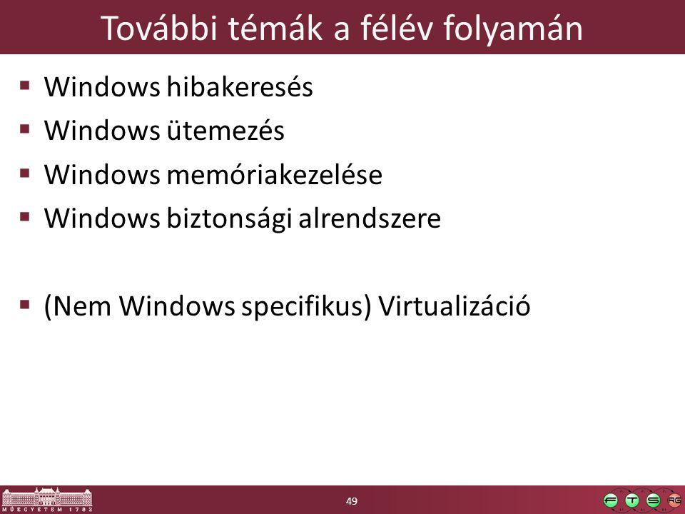 További témák a félév folyamán  Windows hibakeresés  Windows ütemezés  Windows memóriakezelése  Windows biztonsági alrendszere  (Nem Windows specifikus) Virtualizáció 49