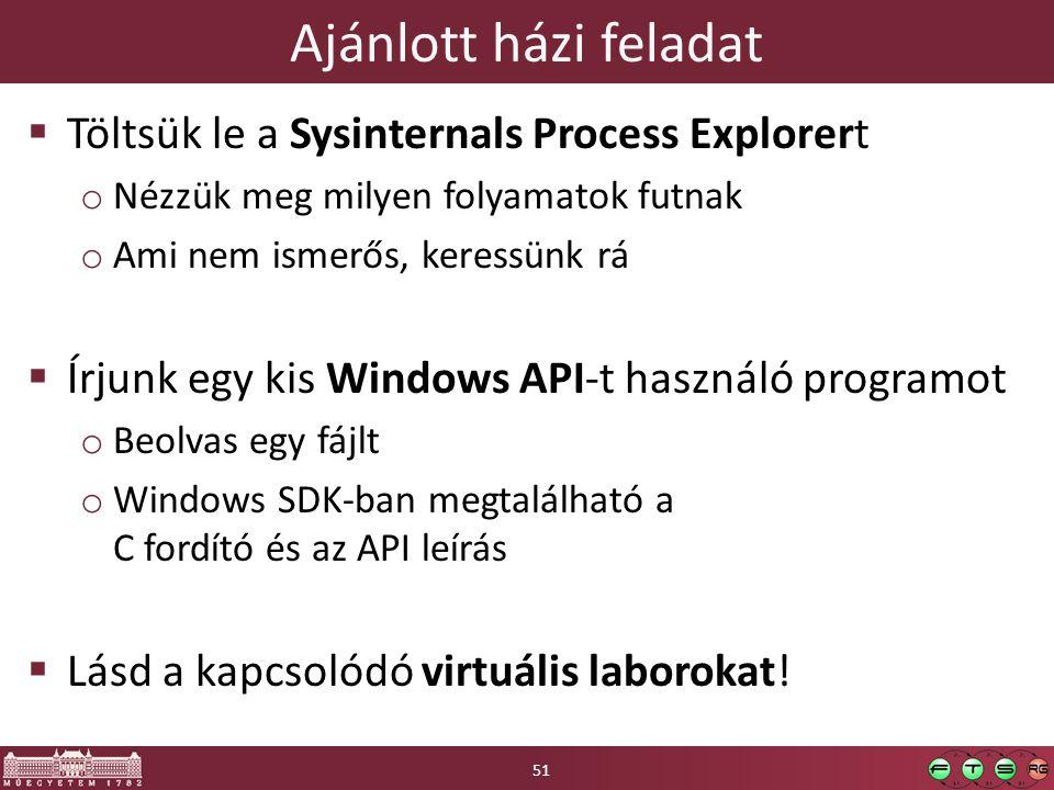Ajánlott házi feladat  Töltsük le a Sysinternals Process Explorert o Nézzük meg milyen folyamatok futnak o Ami nem ismerős, keressünk rá  Írjunk egy kis Windows API-t használó programot o Beolvas egy fájlt o Windows SDK-ban megtalálható a C fordító és az API leírás  Lásd a kapcsolódó virtuális laborokat.