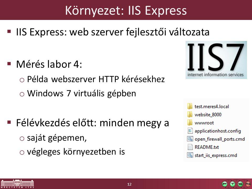 Környezet: IIS Express  IIS Express: web szerver fejlesztői változata  Mérés labor 4: o Példa webszerver HTTP kérésekhez o Windows 7 virtuális gépben  Félévkezdés előtt: minden megy a o saját gépemen, o végleges környezetben is 12