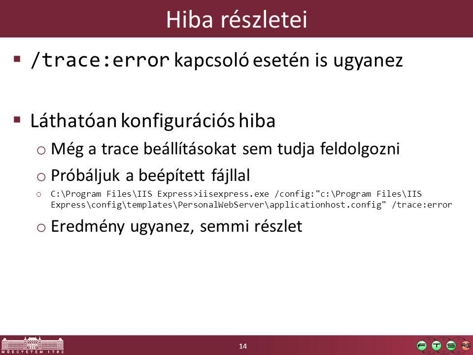 Hiba részletei  /trace:error kapcsoló esetén is ugyanez  Láthatóan konfigurációs hiba o Még a trace beállításokat sem tudja feldolgozni o Próbáljuk a beépített fájllal o C:\Program Files\IIS Express>iisexpress.exe /config: c:\Program Files\IIS Express\config\templates\PersonalWebServer\applicationhost.config /trace:error o Eredmény ugyanez, semmi részlet 14