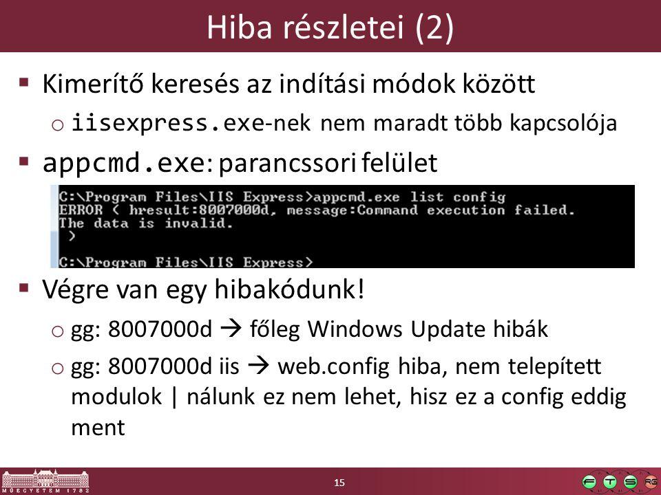 Hiba részletei (2)  Kimerítő keresés az indítási módok között o iisexpress.exe -nek nem maradt több kapcsolója  appcmd.exe : parancssori felület  Végre van egy hibakódunk.