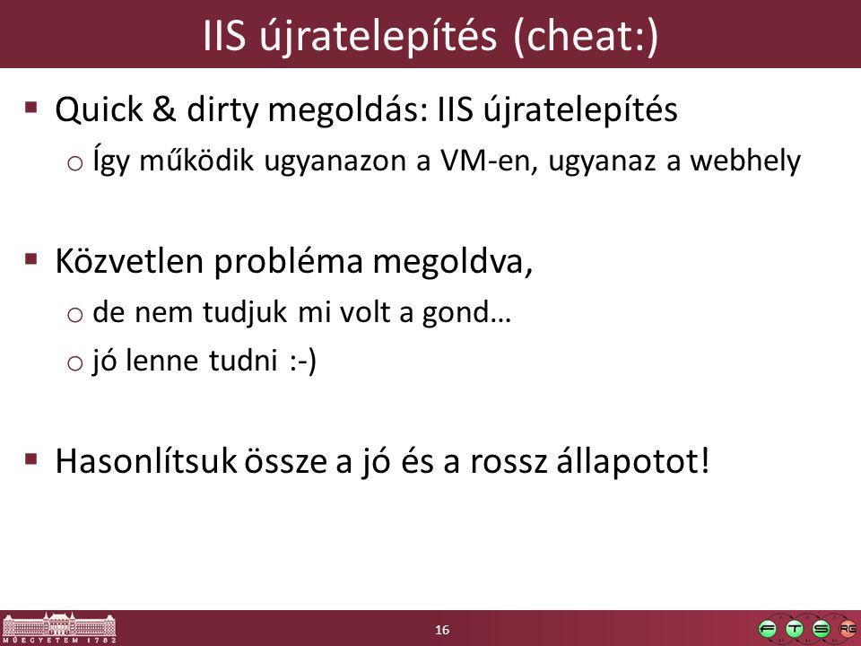 IIS újratelepítés (cheat:)  Quick & dirty megoldás: IIS újratelepítés o Így működik ugyanazon a VM-en, ugyanaz a webhely  Közvetlen probléma megoldva, o de nem tudjuk mi volt a gond… o jó lenne tudni :-)  Hasonlítsuk össze a jó és a rossz állapotot.
