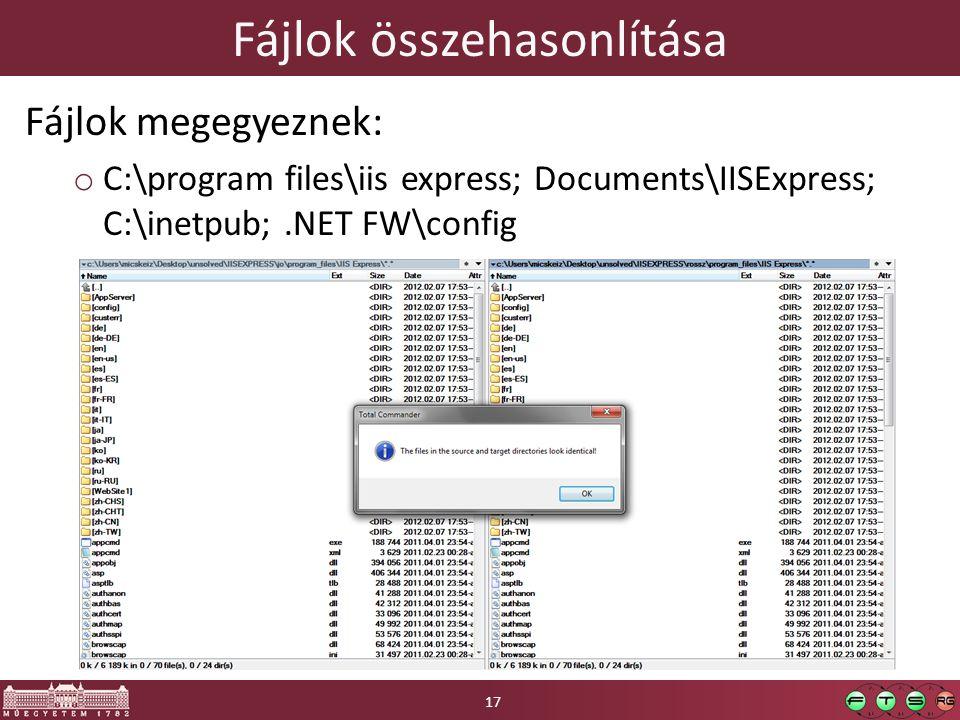 Fájlok összehasonlítása Fájlok megegyeznek: o C:\program files\iis express; Documents\IISExpress; C:\inetpub;.NET FW\config 17