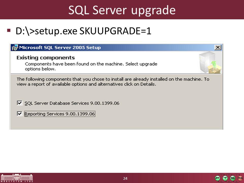 SQL Server upgrade  D:\>setup.exe SKUUPGRADE=1 24