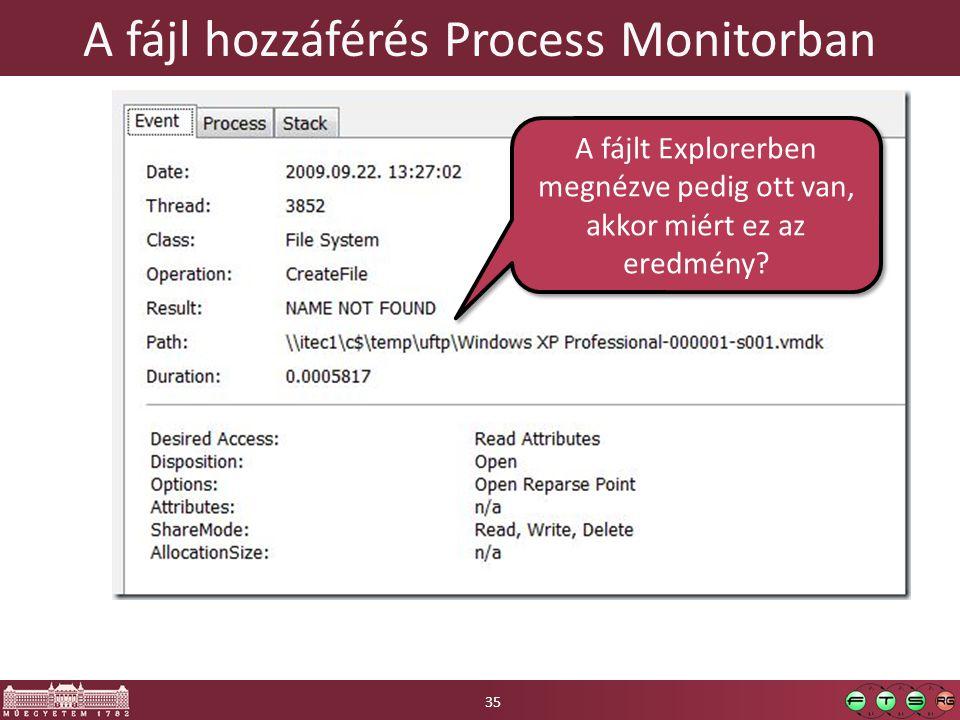 A fájl hozzáférés Process Monitorban 35 A fájlt Explorerben megnézve pedig ott van, akkor miért ez az eredmény?