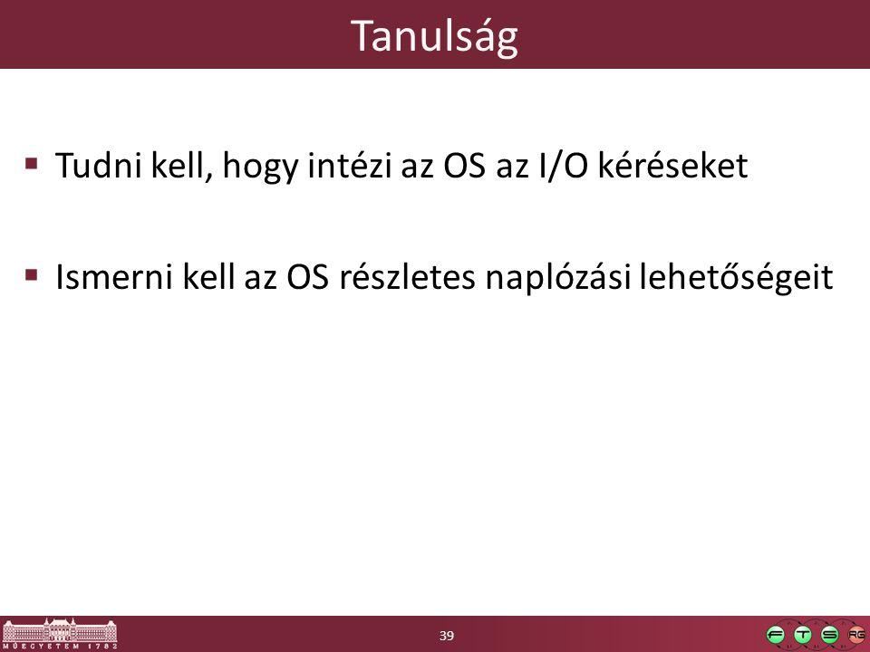 Tanulság  Tudni kell, hogy intézi az OS az I/O kéréseket  Ismerni kell az OS részletes naplózási lehetőségeit 39