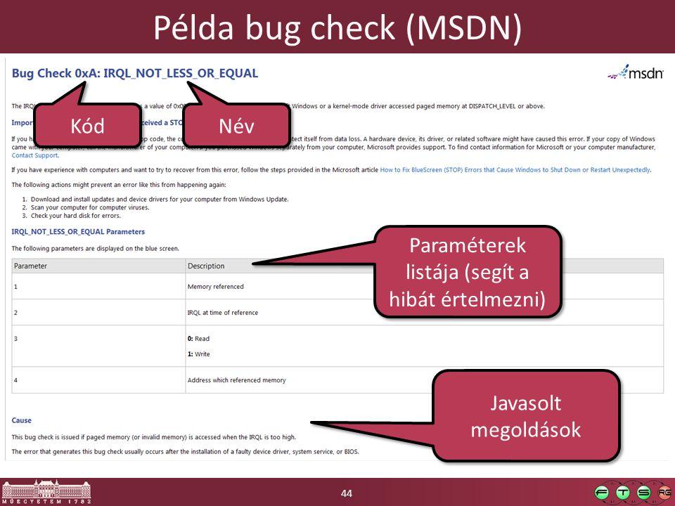 Példa bug check (MSDN) 44 Kód Név Paraméterek listája (segít a hibát értelmezni) Javasolt megoldások