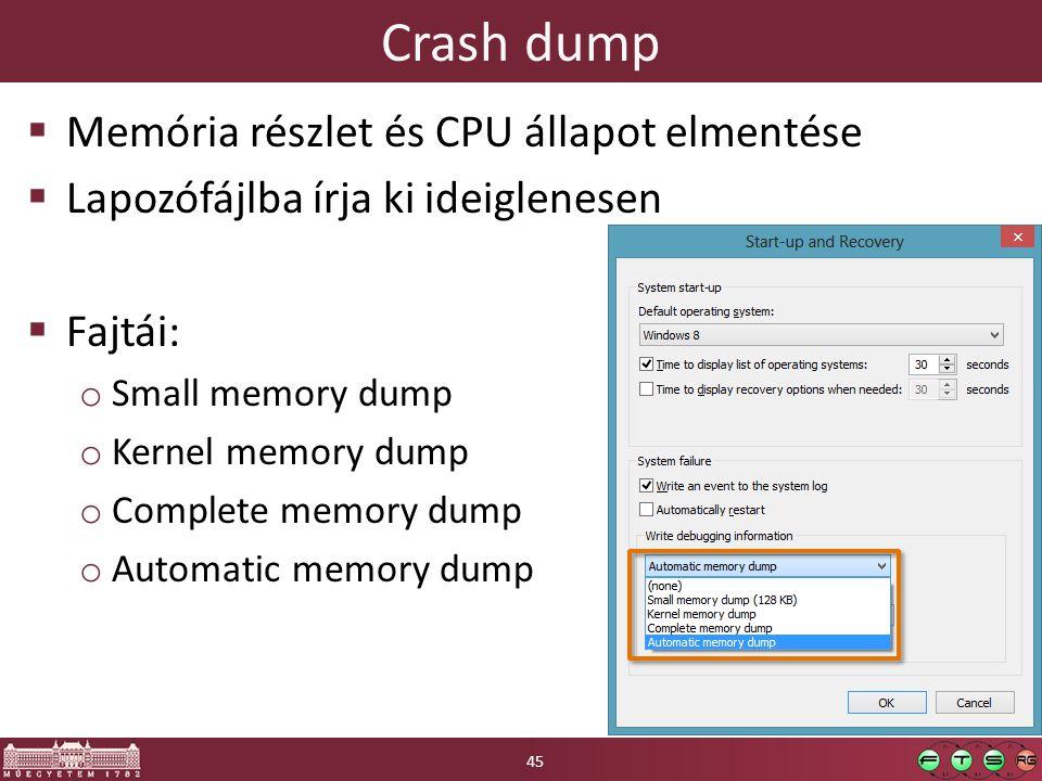 Crash dump  Memória részlet és CPU állapot elmentése  Lapozófájlba írja ki ideiglenesen  Fajtái: o Small memory dump o Kernel memory dump o Complete memory dump o Automatic memory dump 45