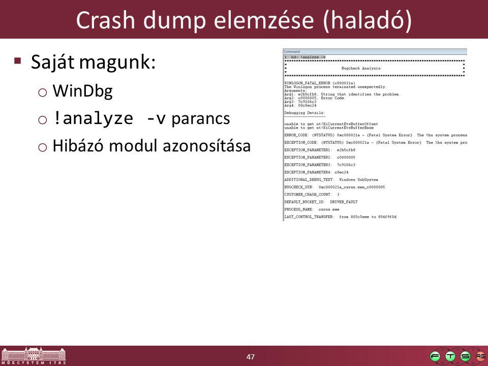 Crash dump elemzése (haladó)  Saját magunk: o WinDbg o !analyze -v parancs o Hibázó modul azonosítása 47