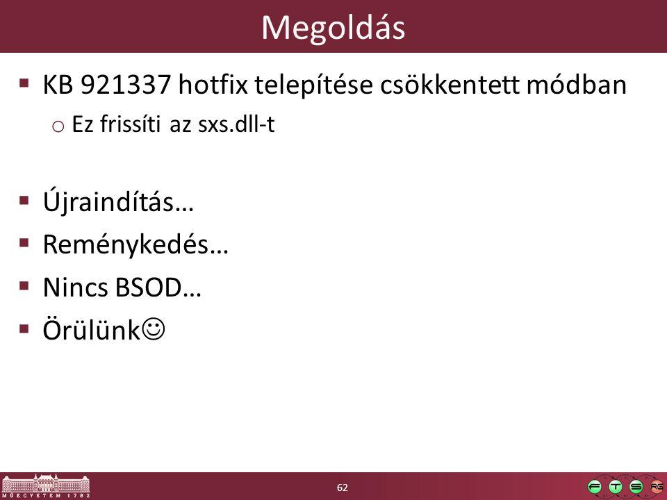Megoldás  KB 921337 hotfix telepítése csökkentett módban o Ez frissíti az sxs.dll-t  Újraindítás…  Reménykedés…  Nincs BSOD…  Örülünk 62