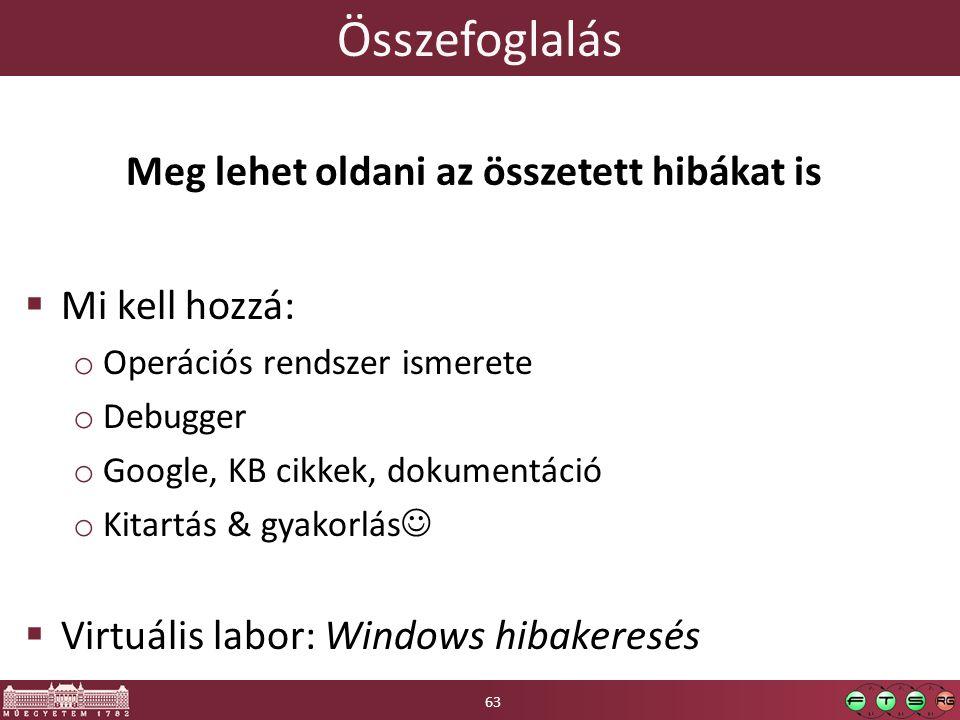 Összefoglalás  Mi kell hozzá: o Operációs rendszer ismerete o Debugger o Google, KB cikkek, dokumentáció o Kitartás & gyakorlás  Virtuális labor: Windows hibakeresés 63 Meg lehet oldani az összetett hibákat is