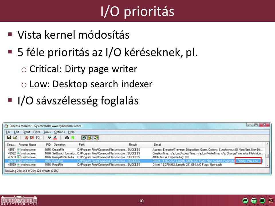 I/O prioritás  Vista kernel módosítás  5 féle prioritás az I/O kéréseknek, pl.