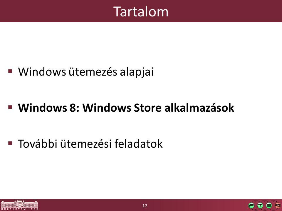 Tartalom  Windows ütemezés alapjai  Windows 8: Windows Store alkalmazások  További ütemezési feladatok 17