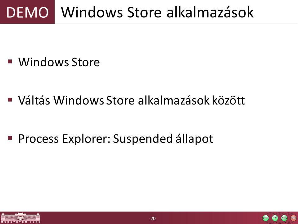 DEMO  Windows Store  Váltás Windows Store alkalmazások között  Process Explorer: Suspended állapot Windows Store alkalmazások 20