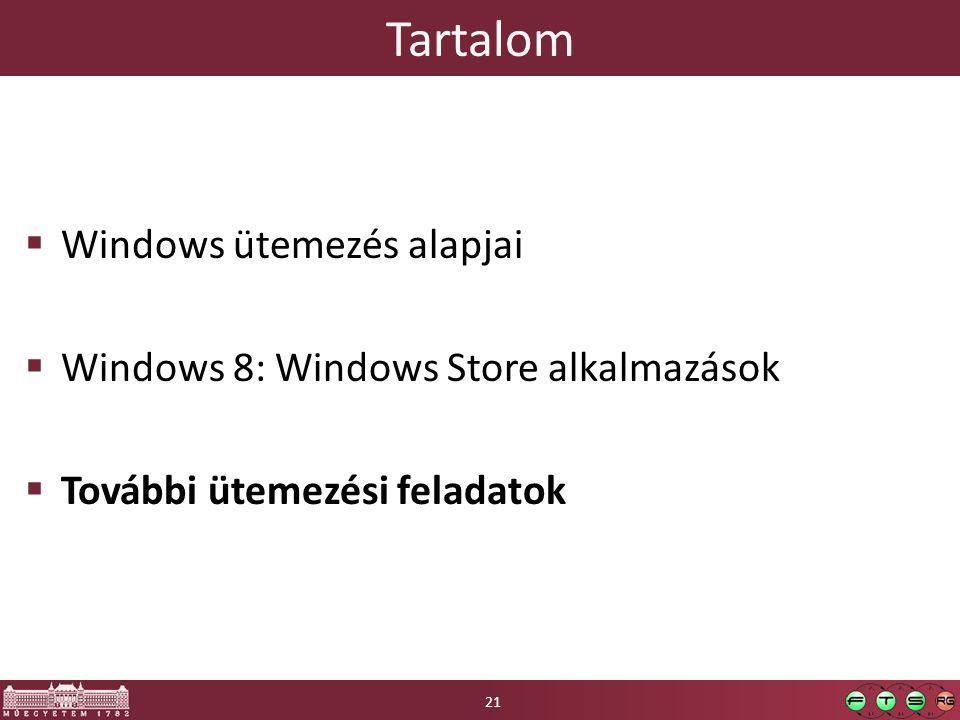 Tartalom  Windows ütemezés alapjai  Windows 8: Windows Store alkalmazások  További ütemezési feladatok 21