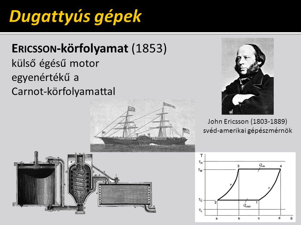 E RICSSON -körfolyamat (1853) külső égésű motor egyenértékű a Carnot-körfolyamattal John Ericsson (1803-1889) svéd-amerikai gépészmérnök