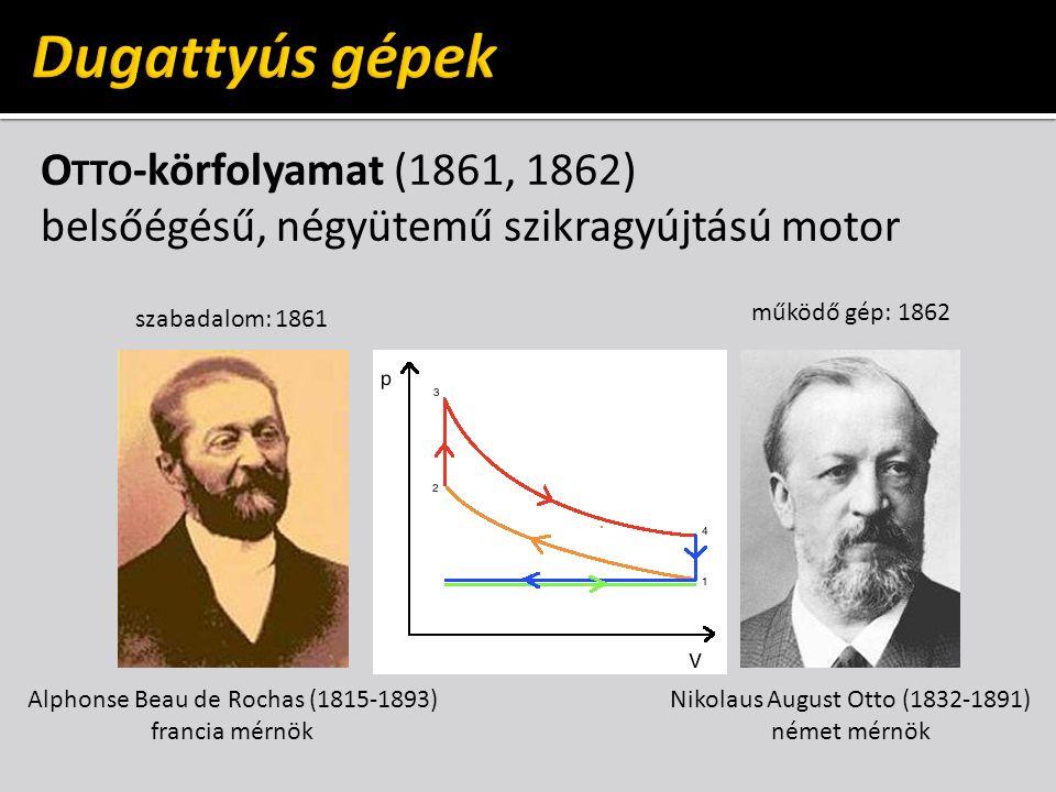 O TTO -körfolyamat (1861, 1862) belsőégésű, négyütemű szikragyújtású motor Nikolaus August Otto (1832-1891) német mérnök Alphonse Beau de Rochas (1815-1893) francia mérnök szabadalom: 1861 működő gép: 1862