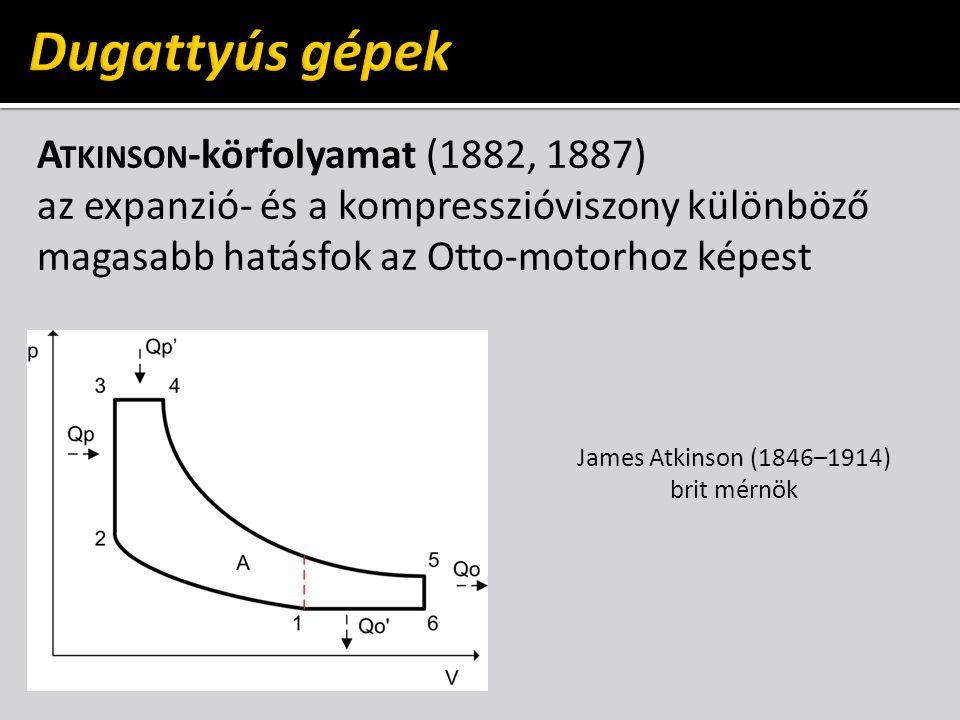 A TKINSON -körfolyamat (1882, 1887) az expanzió- és a kompresszióviszony különböző magasabb hatásfok az Otto-motorhoz képest James Atkinson (1846–1914) brit mérnök