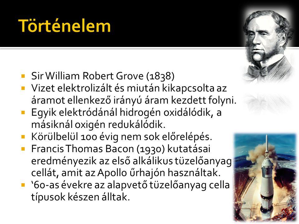  Sir William Robert Grove (1838)  Vizet elektrolizált és miután kikapcsolta az áramot ellenkező irányú áram kezdett folyni.  Egyik elektródánál hid