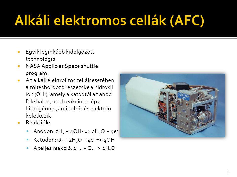  Egyik leginkább kidolgozott technológia.  NASA Apollo és Space shuttle program.  Az alkáli elektrolitos cellák esetében a töltéshordozó részecske