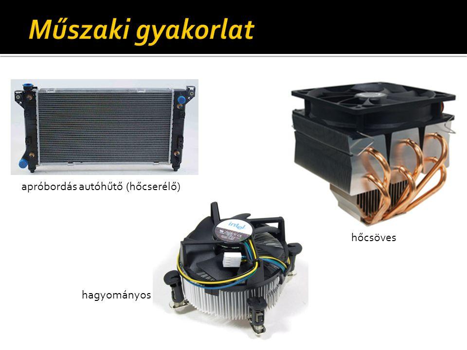 apróbordás autóhűtő (hőcserélő) hagyományos hőcsöves