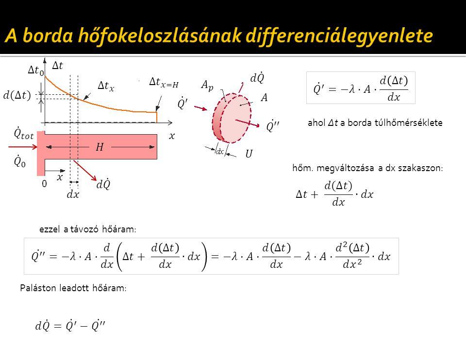 hőm. megváltozása a dx szakaszon: ahol Δt a borda túlhőmérséklete ezzel a távozó hőáram: Paláston leadott hőáram: