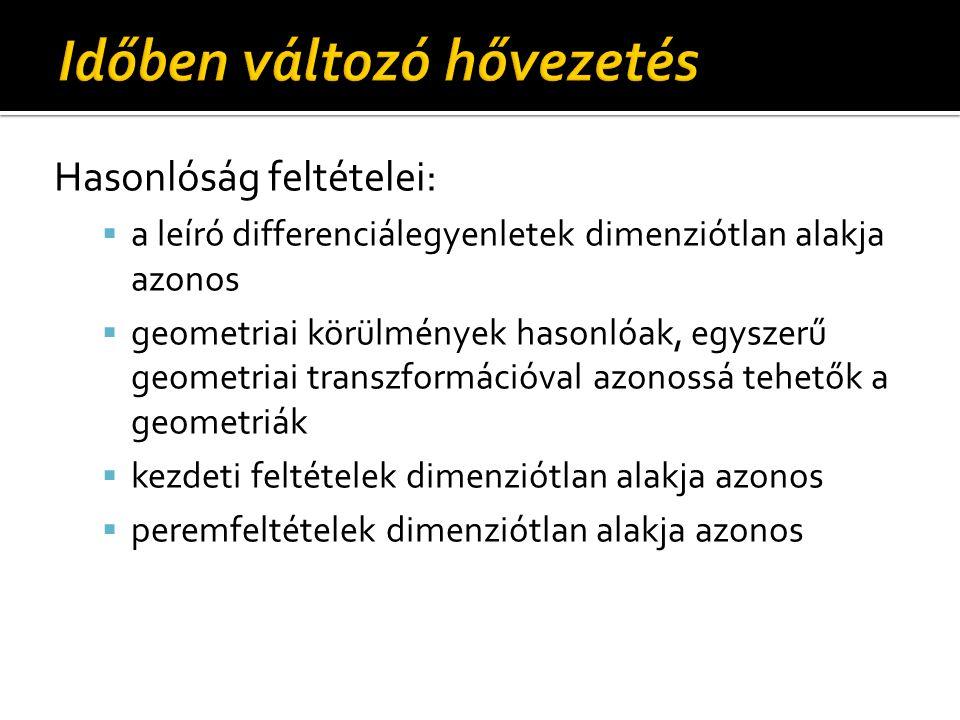 Hasonlóság feltételei:  a leíró differenciálegyenletek dimenziótlan alakja azonos  geometriai körülmények hasonlóak, egyszerű geometriai transzformá