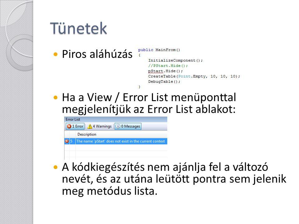 Tünetek Piros aláhúzás Ha a View / Error List menüponttal megjelenítjük az Error List ablakot: A kódkiegészítés nem ajánlja fel a változó nevét, és az