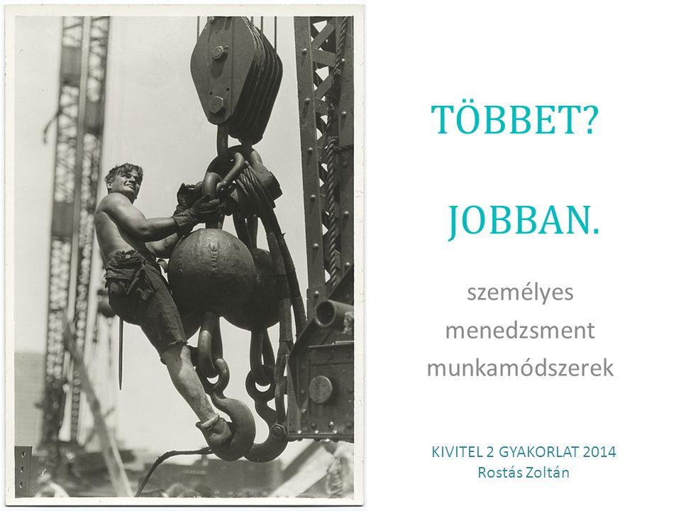 TÖBBET? JOBBAN. személyes menedzsment munkamódszerek KIVITEL 2 GYAKORLAT 2014 Rostás Zoltán
