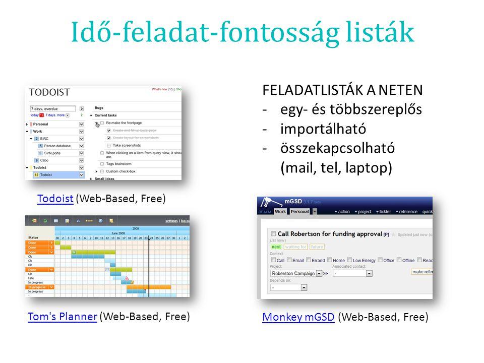 Idő-feladat-fontosság listák TodoistTodoist (Web-Based, Free) Monkey mGSDMonkey mGSD (Web-Based, Free) Tom's PlannerTom's Planner (Web-Based, Free) FE