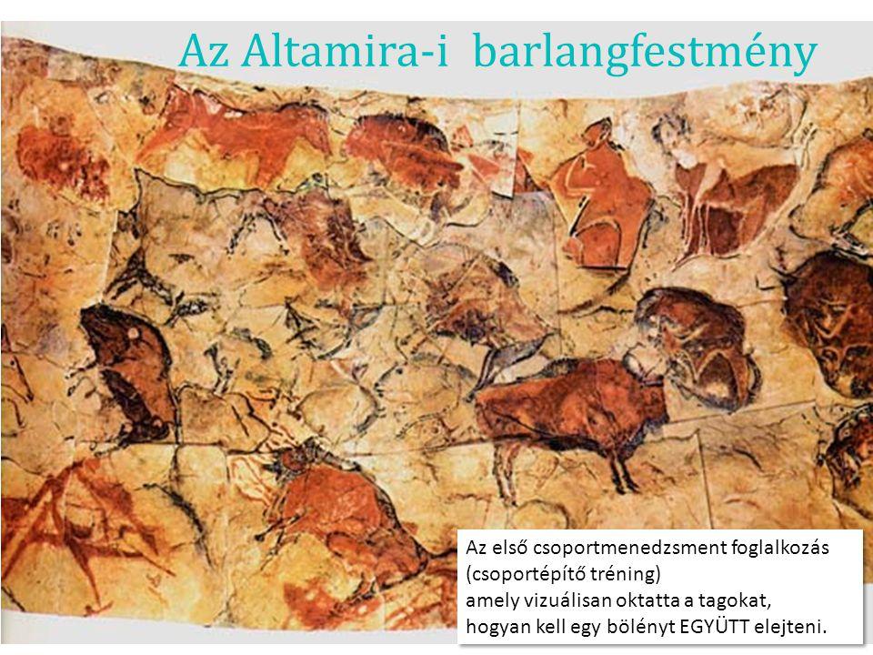 Az Altamira-i barlangfestmény Az első csoportmenedzsment foglalkozás (csoportépítő tréning) amely vizuálisan oktatta a tagokat, hogyan kell egy bölény