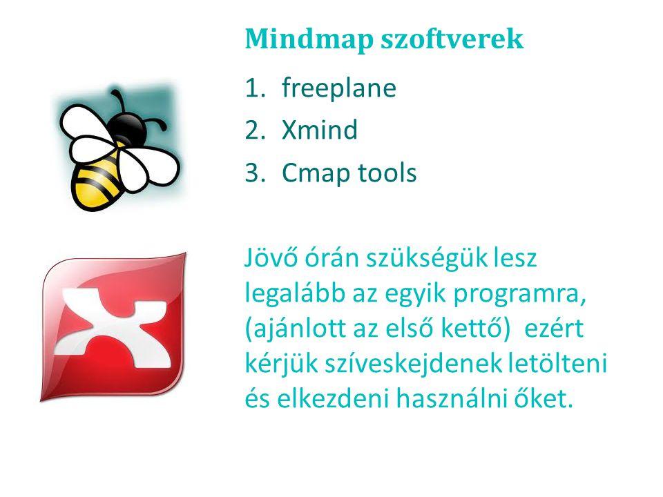 Mindmap szoftverek 1.freeplane 2.Xmind 3.Cmap tools Jövő órán szükségük lesz legalább az egyik programra, (ajánlott az első kettő) ezért kérjük szíves