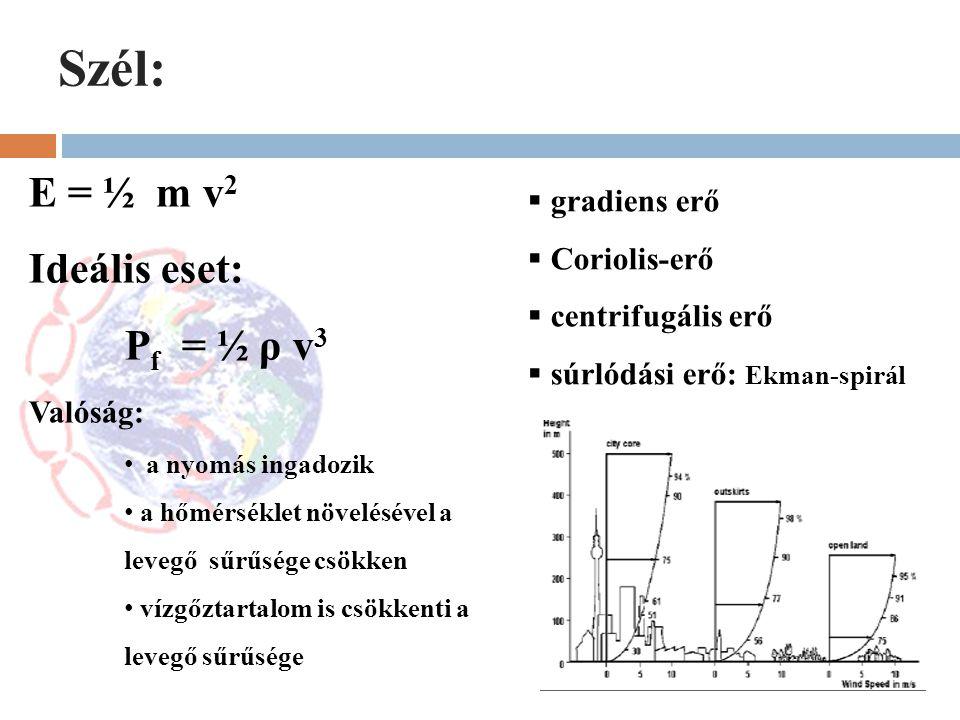Szél: E = ½ m v 2 Ideális eset: P f = ½ ρ v 3 Valóság: a nyomás ingadozik a hőmérséklet növelésével a levegő sűrűsége csökken vízgőztartalom is csökke