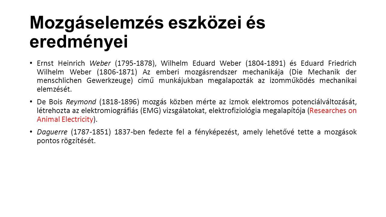 Mozgáselemzés eszközei és eredményei Ernst Heinrich Weber (1795-1878), Wilhelm Eduard Weber (1804-1891) és Eduard Friedrich Wilhelm Weber (1806-1871)