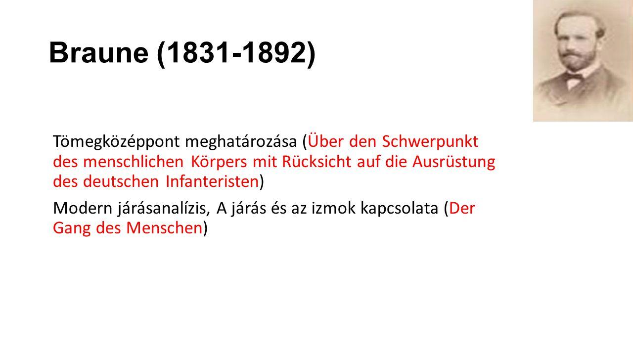Braune (1831-1892) Tömegközéppont meghatározása (Über den Schwerpunkt des menschlichen Körpers mit Rücksicht auf die Ausrüstung des deutschen Infanter