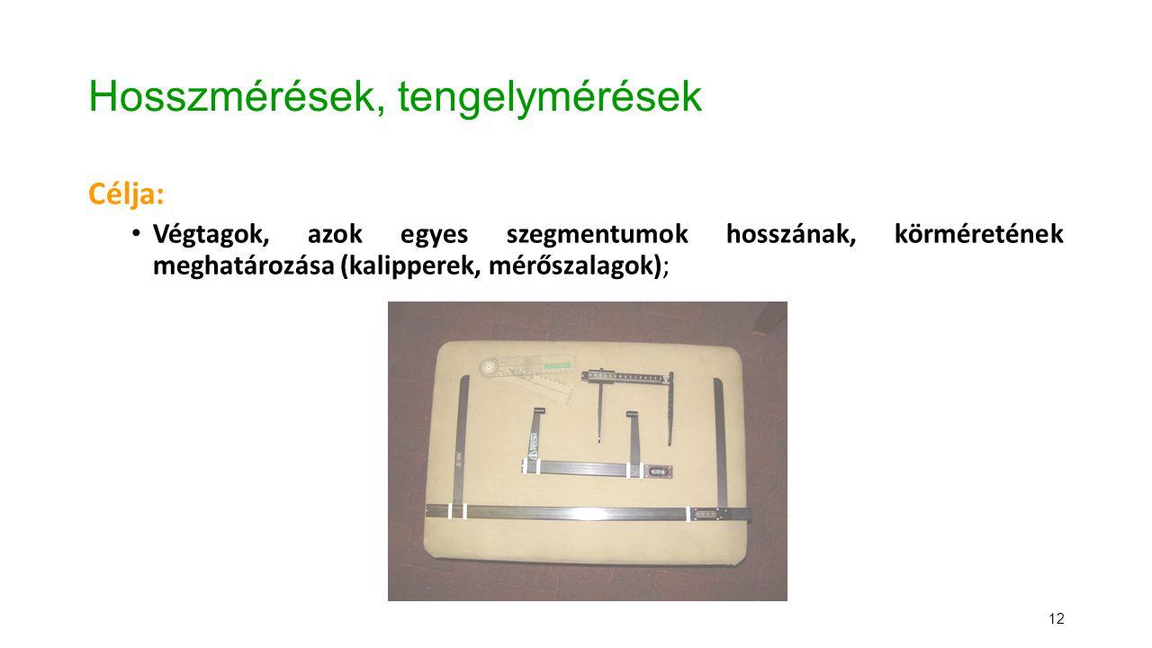 12 Hosszmérések, tengelymérések Célja: Végtagok, azok egyes szegmentumok hosszának, körméretének meghatározása (kalipperek, mérőszalagok);