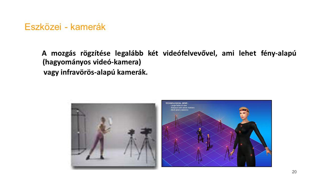 20 Eszközei - kamerák A mozgás rögzítése legalább két videófelvevővel, ami lehet fény-alapú (hagyományos videó-kamera) vagy infravörös-alapú kamerák.