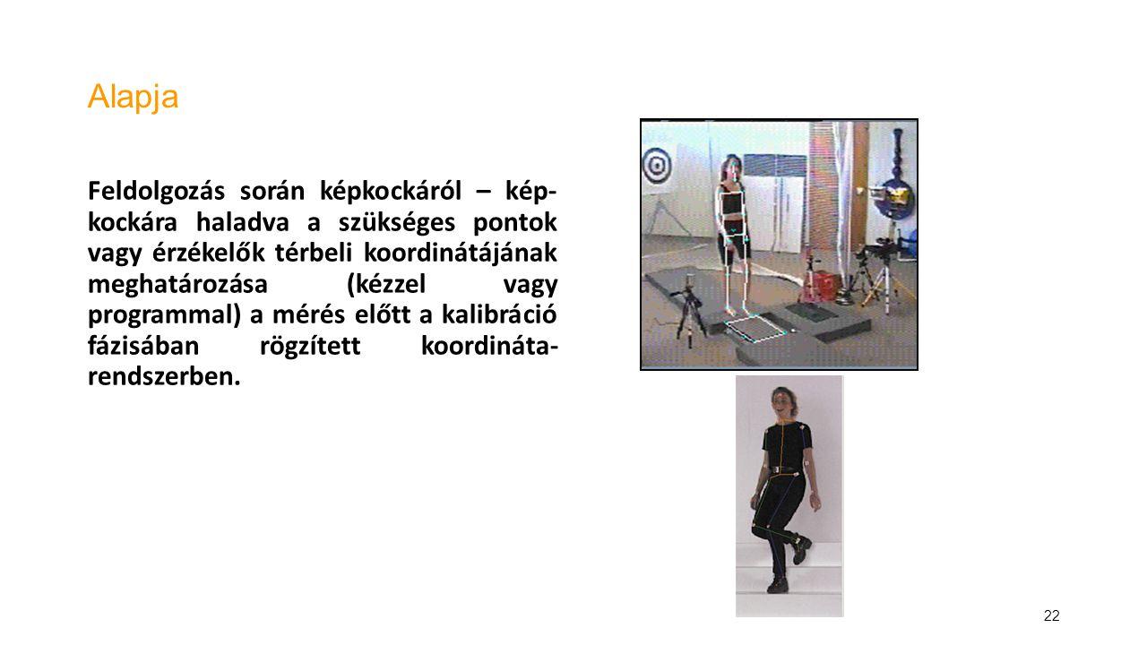 22 Alapja Feldolgozás során képkockáról – kép- kockára haladva a szükséges pontok vagy érzékelők térbeli koordinátájának meghatározása (kézzel vagy pr