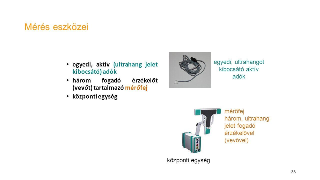 38 Mérés eszközei egyedi, aktív (ultrahang jelet kibocsátó) adók három fogadó érzékelőt (vevőt) tartalmazó mérőfej központi egység egyedi, ultrahangot