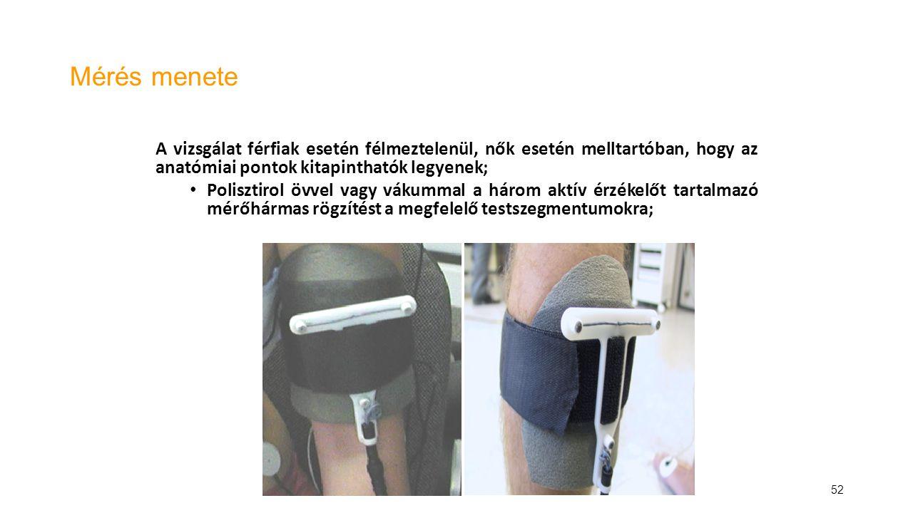 52 Mérés menete A vizsgálat férfiak esetén félmeztelenül, nők esetén melltartóban, hogy az anatómiai pontok kitapinthatók legyenek; Polisztirol övvel